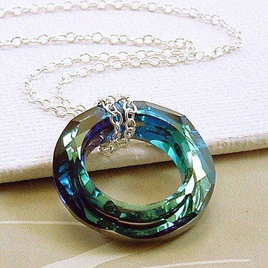 534a79cb00021 Swarovski Crystal Necklace, Bermuda Blue Cosmic Ring